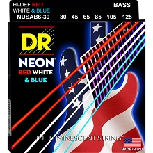 DR NEON USA Flag Coated Electric Bass Strings Long Scale Set - 6-String 30-125 NUSAB6-30 Red White Blue