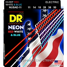 DR Neon Red White and Blue K3 Coated Electric Guitar String Set - 11-50 Heavy NUSAE-11