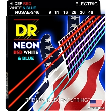 DR Neon Red White and Blue K3 Coated Electric Guitar String Set - 09-46 Light-Heavy NUSAE-9/46