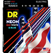 DR Neon Red White and Blue K3 Coated Electric Guitar String Set - 09-42 Light NUSAE-9