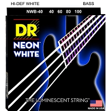 DR NEON White Coated Electric Bass Strings Long Scale Set - 4-String 40-100 NWB-40