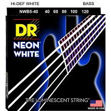 DR NEON White Coated Electric Bass Strings Long Scale Set - 5-String 40-120 NWB5-40