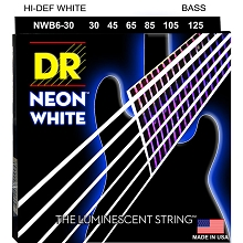 DR NEON White Coated Electric Bass Strings Long Scale Set - 6-String 30-125 NWB6-30