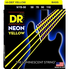 DR NEON Yellow Coated Electric Bass Strings Long Scale Set - 4-String 50-110 NYB-50