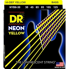 DR NEON Yellow Coated Electric Bass Strings Long Scale Set - 6-String 30-125 NYB6-30