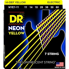 DR Neon Yellow K3 Coated Electric Guitar String Set - 11-60 7-String Heavy NYE7-11