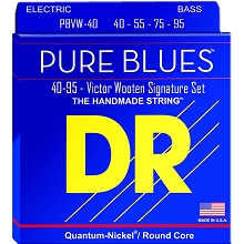 DR Pure Blues Quantum-Nickel Electric Bass Strings Long Scale Set - 4-String 40-095 Victor Wooten Signature PBVW-40