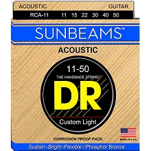 DR Sunbeams Round Core Phosphor Bronze Acoustic Guitar String Set - 11-50 Custom Light RCA-11