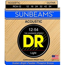 DR Sunbeams Round Core Phosphor Bronze Acoustic Guitar String Set - 12-54 Light RCA-12