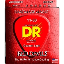 DR Red Devils Coated Phosphor Bronze Acoustic Guitar String Set - 11-50 Custom Light RDA-11