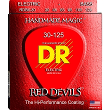 DR Red Devils Red Coated Electric Bass Strings Long Scale Set - 6-String 30-125 RDB6-30