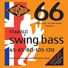 Rotosound Swing Bass 66 Stainless Steel Electric Bass Strings Long Scale Set - 5-String 45-130 RS665LD