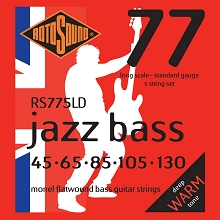 Rotosound Jazz Bass 77 Monel Flatwound Electric Bass Strings Long Scale Set - 5-String 45-130 RS775LD