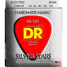 DR Silver Stars Clear Coated Electric Bass Strings Long Scale Set - 5-String 40-120 Light SIB5-40