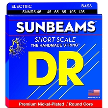 DR Sunbeam Nickel Plated Steel Electric Bass Strings Short Scale Set - 5-String 45-125 Medium SNMR5-45