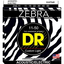 DR ZEBRA Acoustic / Electric Guitar String Set - 11-50 Custom Light ZAE-11