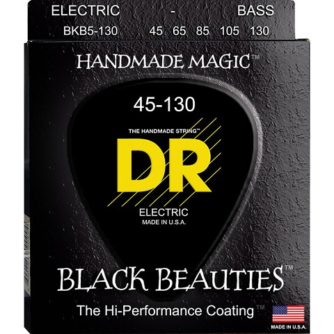 DR Black Beauties Black Coated Electric Bass Strings Long Scale Set - 5-String 45-130 BKB5-130