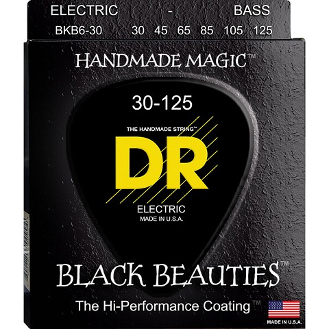 DR Black Beauties Black Coated Electric Bass Strings Long Scale Set - 6-String 30-125 BKB6-30