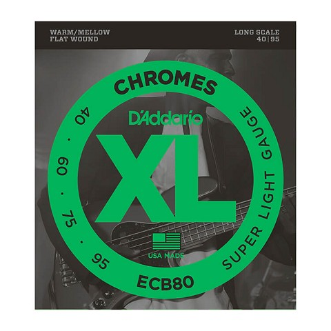 D'Addario Chromes Flatwound Bass String Set Long Scale - 4-String 40-095 Light ECB80