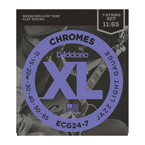 D'Addario Chromes Flatwound Guitar String Set 7-String 11-65 Jazz Light ECG24-7