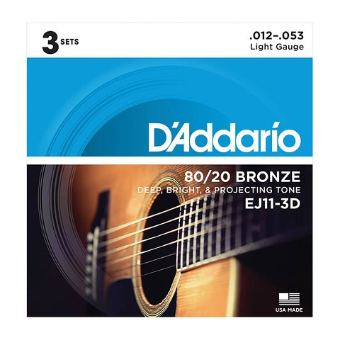 D'Addario 80/20 Bronze Acoustic Guitar String Sets 12-53 Light EJ11-3D 3-Pack