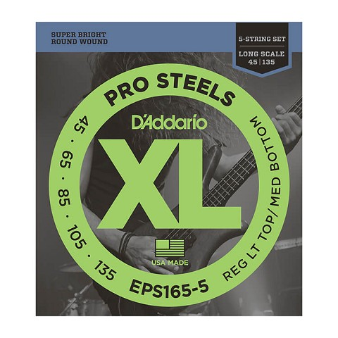 D'Addario ProSteels Stainless Steel Bass String Set Long Scale - 5-String 45-135 Custom Light EPS165-5