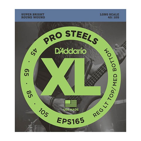 D'Addario ProSteels Stainless Steel Bass String Set Long Scale - 4-String 45-105 Custom Light EPS165