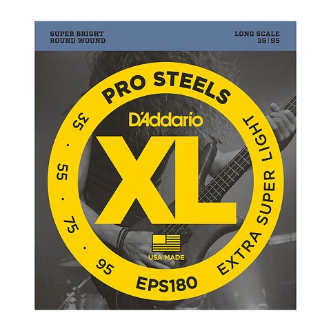 D'Addario ProSteels Stainless Steel Bass String Set Long Scale - 4-String 35-095 Extra Super Light EPS180