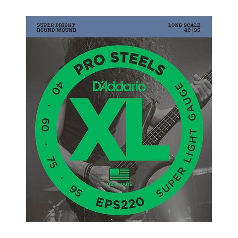 D'Addario ProSteels Stainless Steel Bass String Set Long Scale - 4-String 40-095 Super Light EPS220