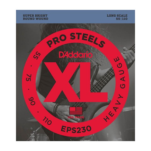 D'Addario ProSteels Stainless Steel Bass String Set Long Scale - 4-String 55-110 Heavy EPS230