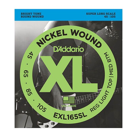 D'Addario XL Nickel Wound Bass String Set Super Long Scale - 4-String 45-105 Custom Light EXL165SL