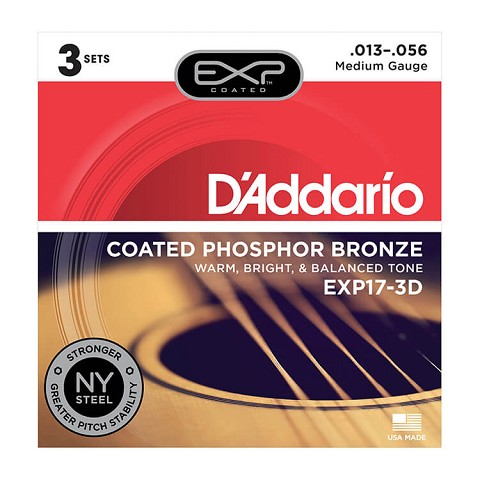 D'Addario EXP Coated Phosphor Bronze Acoustic Guitar String Sets 13-56 Medium EXP17-3D 3-Pack