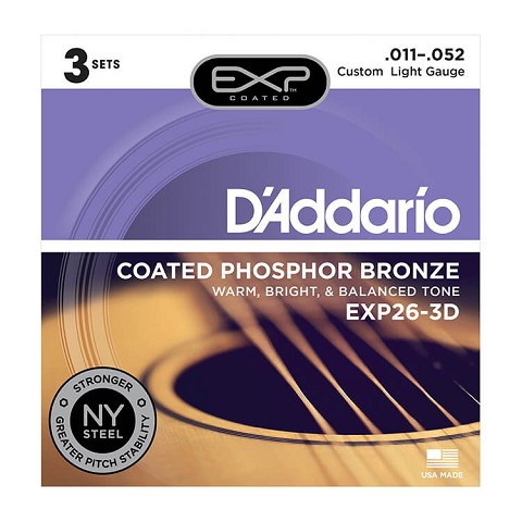 D'Addario EXP Coated Phosphor Bronze Acoustic Guitar String Sets 11-52 Custom Light EXP26-3D 3-Pack