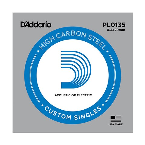 D'Addario Plain Steel Single Acoustic / Electric Guitar String .0135p