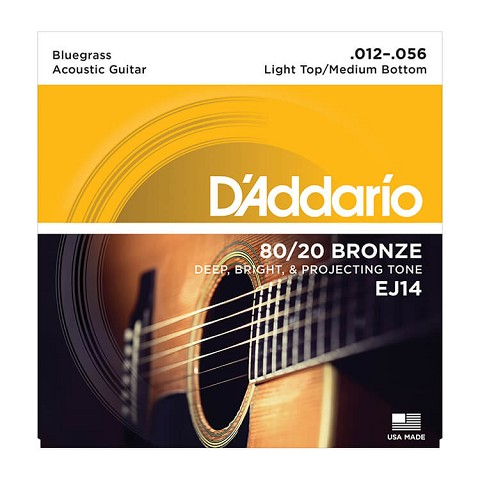 D'Addario 80/20 Bronze Acoustic Guitar String Set 12-56 LT/HB Bluegrass EJ14