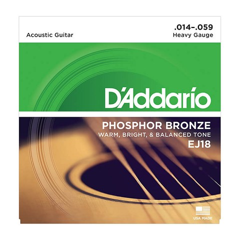 D'Addario Phosphor Bronze Acoustic Guitar String Set 14-59 Heavy EJ18