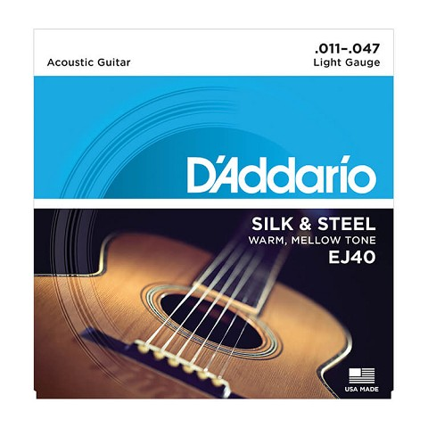 D'Addario Silk and Steel Silver-Plated Copper Acoustic Guitar String Set 11-47 Folk Guitar EJ40