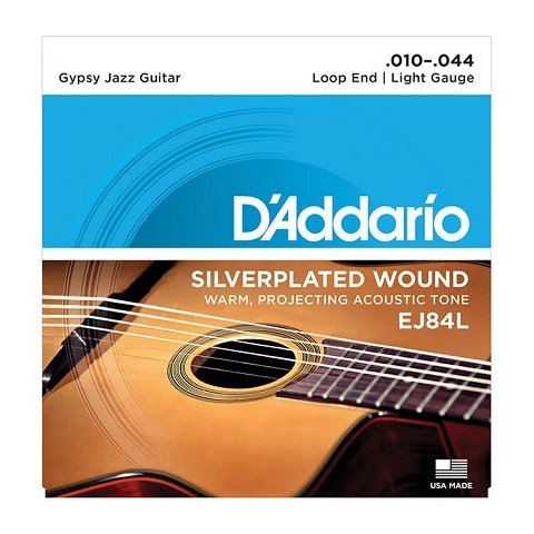 D'Addario Silver-Plated Copper Gypsy Jazz Acoustic Guitar String Set 10-44 Loop End Light EJ84L