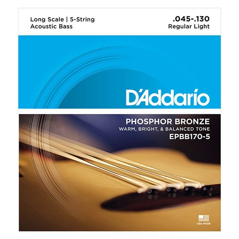 D'Addario Phosphor Bronze Acoustic Bass String Set Long Scale - 5-String 45-130 EPBB170-5