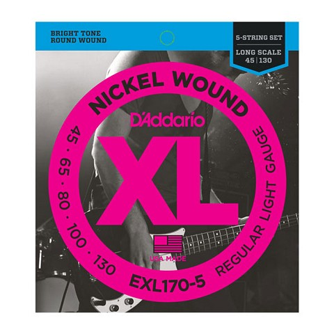D'Addario XL Nickel Wound Bass String Set Long Scale - 5-String 45-130 Light EXL170-5