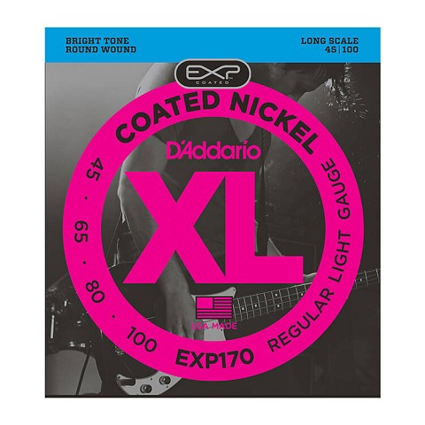 D'Addario EXP Coated XL Nickel Bass String Set Long Scale - 4-String 45-100 Light EXP170