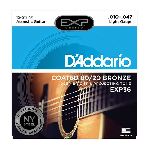 D'Addario EXP Coated 80/20 Bronze Acoustic Guitar String Set 10-47 12-String Light EXP36