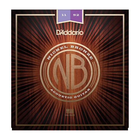 D'Addario Nickel Bronze Wound Acoustic Guitar String Set 11-52 Custom Light NB11-52