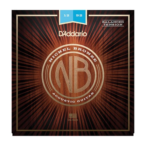 D'Addario Nickel Bronze Wound Acoustic Guitar String Set 12-52 Balanced Tension Light NB1252BT