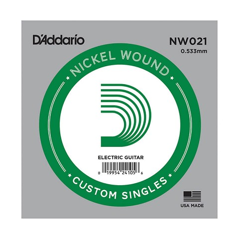 D'Addario XL Nickel Wound Single Electric Guitar String .021w