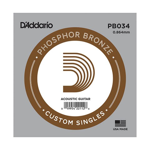 D'Addario Phosphor Bronze Single Acoustic Guitar String .034w