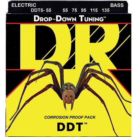 DR DDT Drop Down Tuning Stainless Steel Electric Bass Strings Long Scale Set - 5-String 55-135 DDT5-55