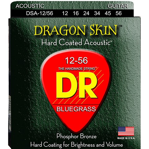 DR Dragon Skin Coated Phosphor Bronze Acoustic Guitar String Set - 12-56 Bluegrass DSA-12/56
