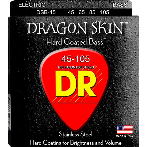 DR Dragon Skin Coated Stainless Steel Electric Bass Strings Long Scale Set - 4-String 45-105 DSB-45