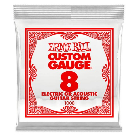 Ernie Ball Plain Steel Single Guitar String Electric or Acoustic .008p